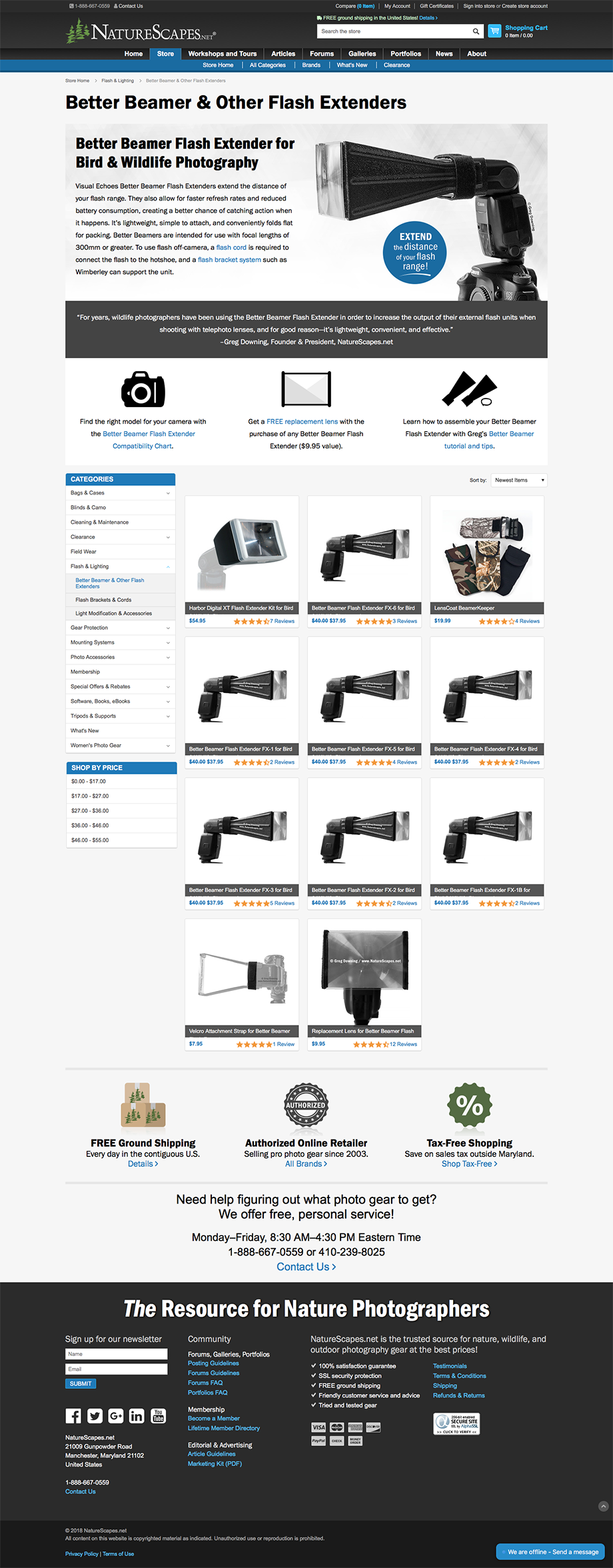NatureScapes Store Product Line Landing Page